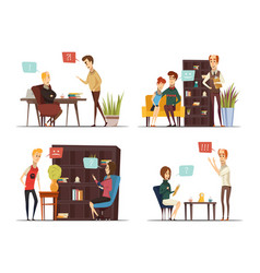 Session of psychologist flat compositions vector