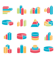 set financial icons line style vector image