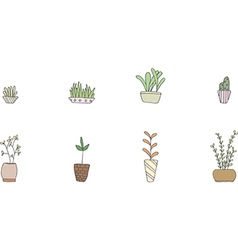 Set of cute potted plants vector image