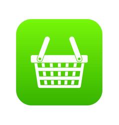 Shopping basket icon digital green vector