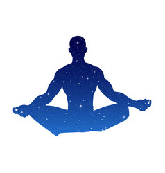 Silhouette a male figure meditating vector