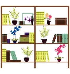Simple bookshelves with books flowers pots vector