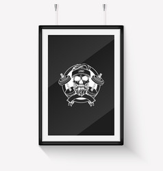 Sketch sport skull with dumbbells vector
