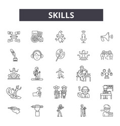 Skills line icons signs set linear vector
