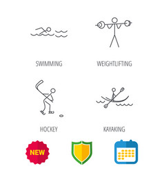 Swimming hockey and kayaking icons vector