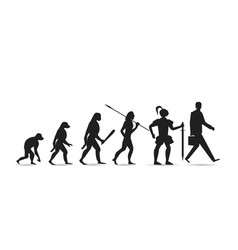 Theory of evolution of man silhouette human vector