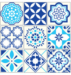 Tiles blue pattern lisbon floral mosaic vector