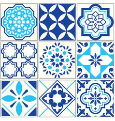 tiles blue pattern lisbon floral mosaic vector image