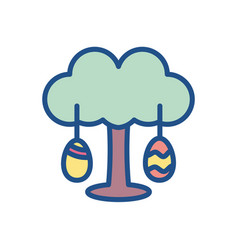 Tree with easter eggs colorful and line style vector