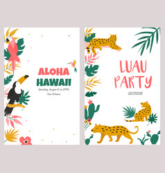Trendy summer tropical banners for hawaiian party vector