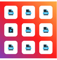 Types icons colored set with file cad file xml vector