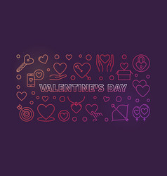 valentines day colored linear banner vector image