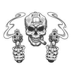 Vintage monochrome gangster skull in cap vector
