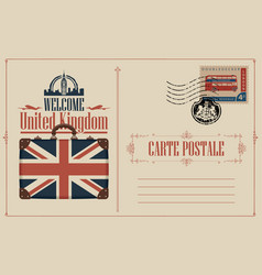 Vintage postcard with suitcase flag and big ben vector