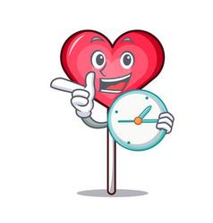 With clock heart lollipop character cartoon vector