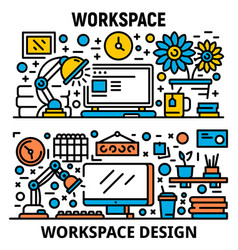 Workplace banner set outline style vector