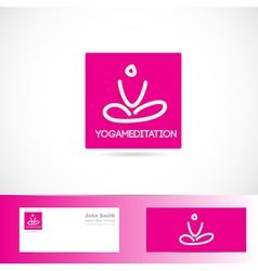 Yoga meditation pose logo vector