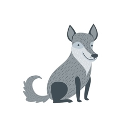 Grey Wolf Sitting Like A Dog Smiling vector image