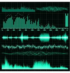 Sound waves set Music background EPS 8 vector image