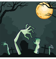 Zombies coming out of the grave at night vector image