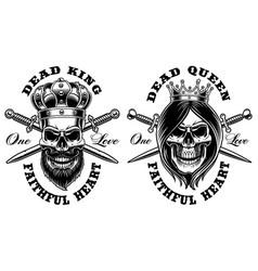 set of skulls king and queen vector image vector image