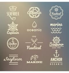 Vintage marine nautical navy labels vector