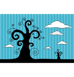 Abstract Black Trees with Clouds on Blue Car vector image vector image