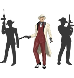 Asian mafioso godfather with crew silhouettes vector image