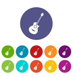 classical guitar set icons vector image