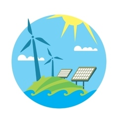 Clean resources Sun and wind energy generation vector image