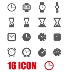 grey clock icon set vector image