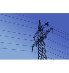High voltage towers with sky background vector