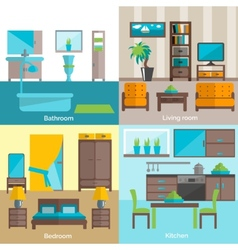 Interior rooms furnishing 4 flat icons vector image vector image
