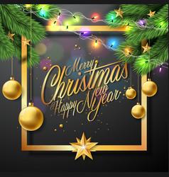 merry christmas on black vector image