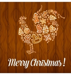Merry Christmas Rooster Cock symbol vector image vector image