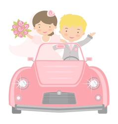 Bride and Groom in car vector image vector image