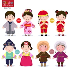 Children of the world Japan China Korea and vector image