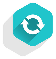 flat arrow sign refresh icon hexagon button vector image