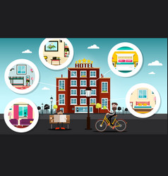 hotel building with rooms vector image vector image
