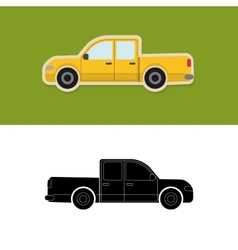 Pickup truck icon and silhouette vector image vector image