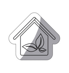 silhouette house with leaves inside icon vector image