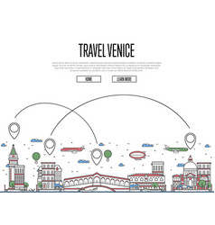 travel venice poster in linear style vector image