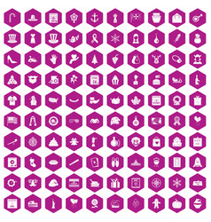 100 national holiday icons hexagon violet vector
