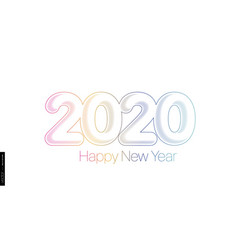 2020 happy new year minimalist colored text on a vector