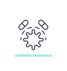 Antibiotic resistance line icon vector