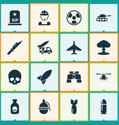 Army icons set collection of missile rip vector