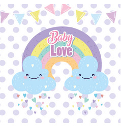 baby shower cute rainbow with clouds rain hearts vector image