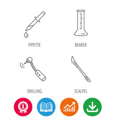 Beaker medical scalpel and drilling tool icons vector