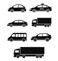 black isolated cars set vector image