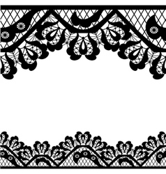 Black lace on white background and place for your vector